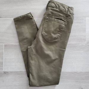 WAX ME High Waisted Olive Green Jeggings Size 1
